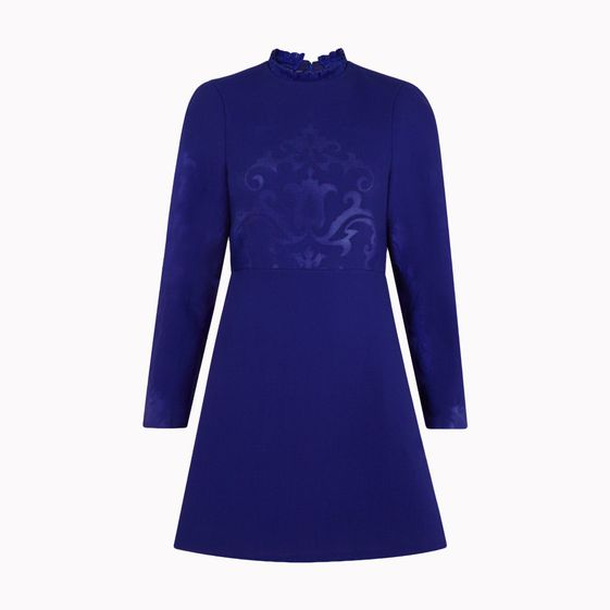 Stella McCartney, Robe gaufrée Camilla bleu nuit en laine stretch double face