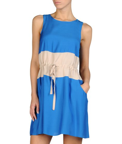 TWO-COLOR DRESS WITH DRAWSTRING WAIST IN VISCOSE AND MODAL