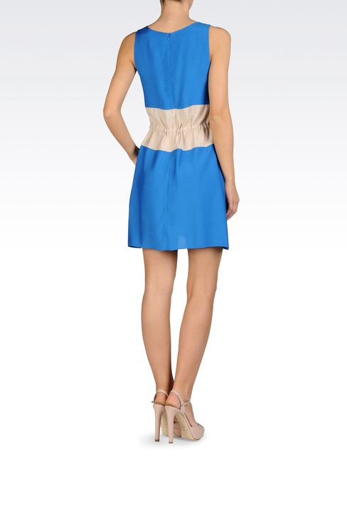 TWO-COLOR DRESS WITH DRAWSTRING WAIST IN VISCOSE AND MODAL: Short Dresses Women by Armani - 3
