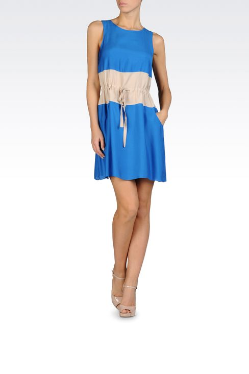 TWO-COLOR DRESS WITH DRAWSTRING WAIST IN VISCOSE AND MODAL: Short Dresses Women by Armani - 2