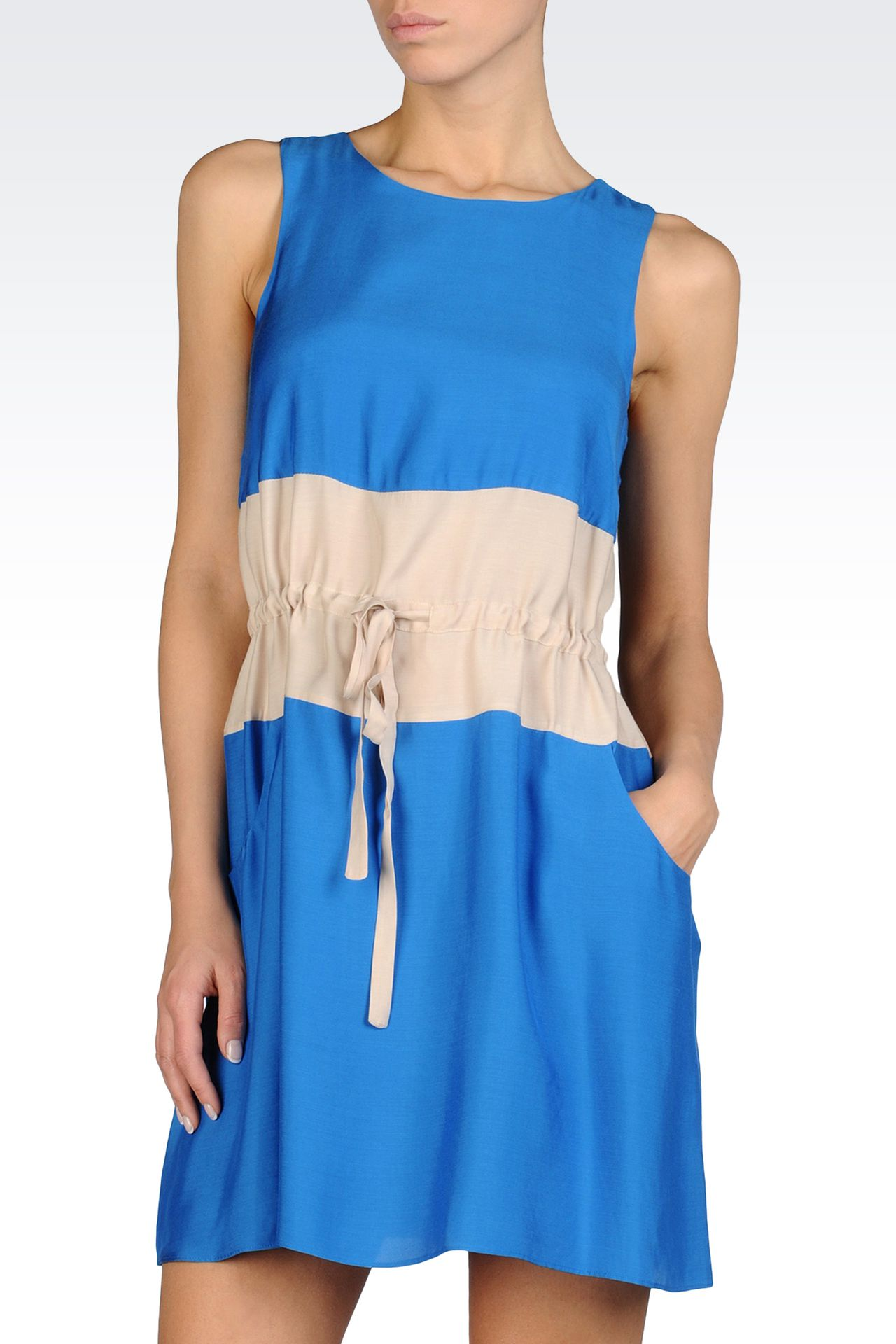 TWO-COLOR DRESS WITH DRAWSTRING WAIST IN VISCOSE AND MODAL: Short Dresses Women by Armani - 0