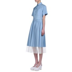 STELLA McCARTNEY, Gown, Blue Shadow Organic Herringbone Pimlico Dress