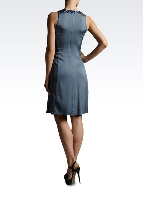 CRÊPE DRESS WITH RHINESTONES GATHERED AT THE WAIST: Short Dresses Women by Armani - 3