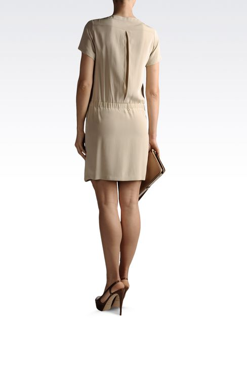 silk shirt dress with pockets: Short Dresses Women by Armani - 3