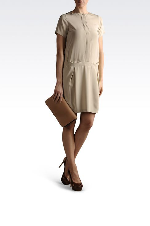 silk shirt dress with pockets: Short Dresses Women by Armani - 2