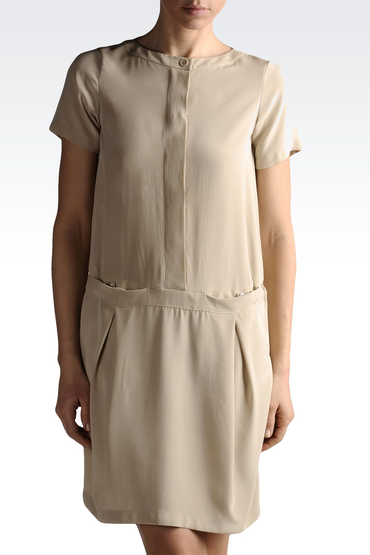 silk shirt dress with pockets: Short Dresses Women by Armani - 0