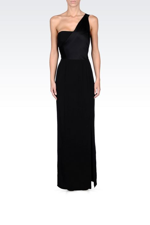 long viscose one-shoulder dress with split: Long dresses Women by Armani - 1