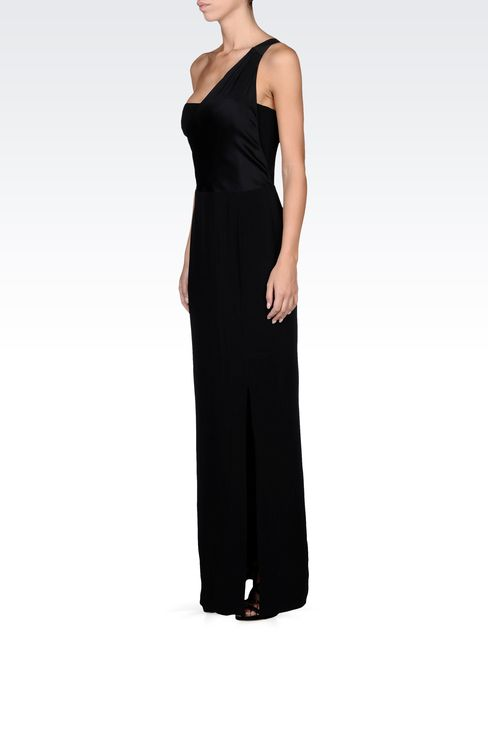 long viscose one-shoulder dress with split: Long dresses Women by Armani - 2