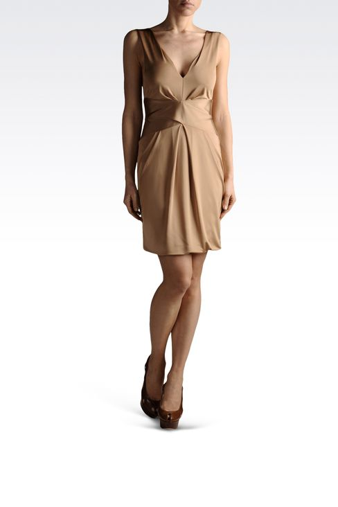 jersey mini-dress with V neck: Jersey dresses Women by Armani - 2