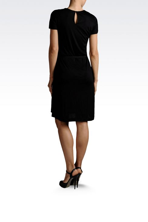 draped dress in jersey with belt: Jersey dresses Women by Armani - 3
