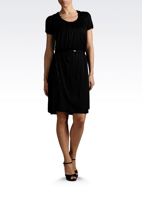 draped dress in jersey with belt: Jersey dresses Women by Armani - 2