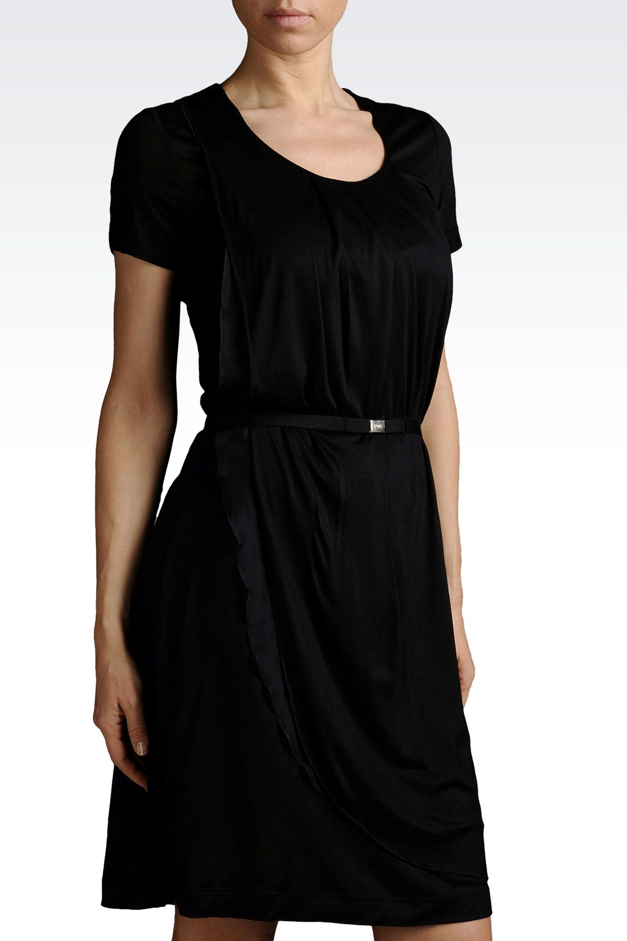 draped dress in jersey with belt: Jersey dresses Women by Armani - 0
