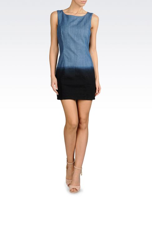 SHORT SHEATH DRESS IN DEGRADE COMFORT DENIM: Short Dresses Women by Armani - 2