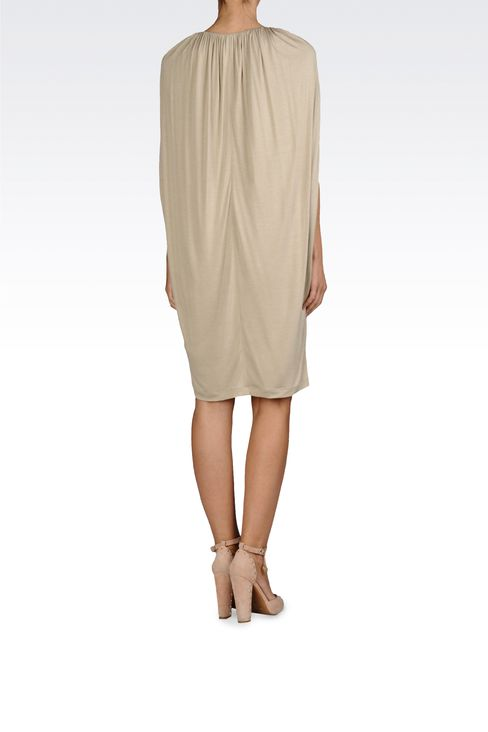 VISCOSE JERSEY DRESS WITH GATHERS: Jersey dresses Women by Armani - 3