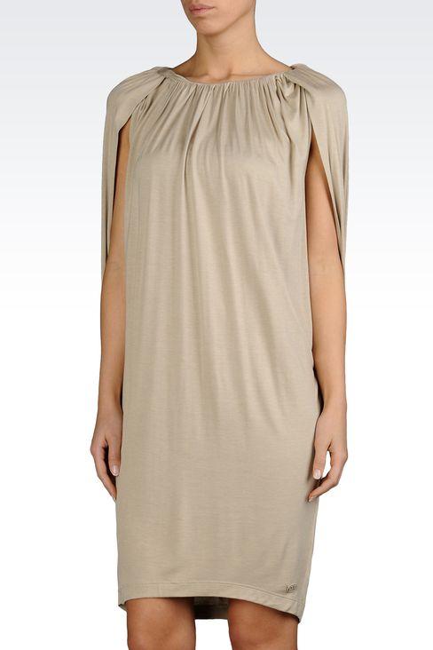 VISCOSE JERSEY DRESS WITH GATHERS: Jersey dresses Women by Armani - 1