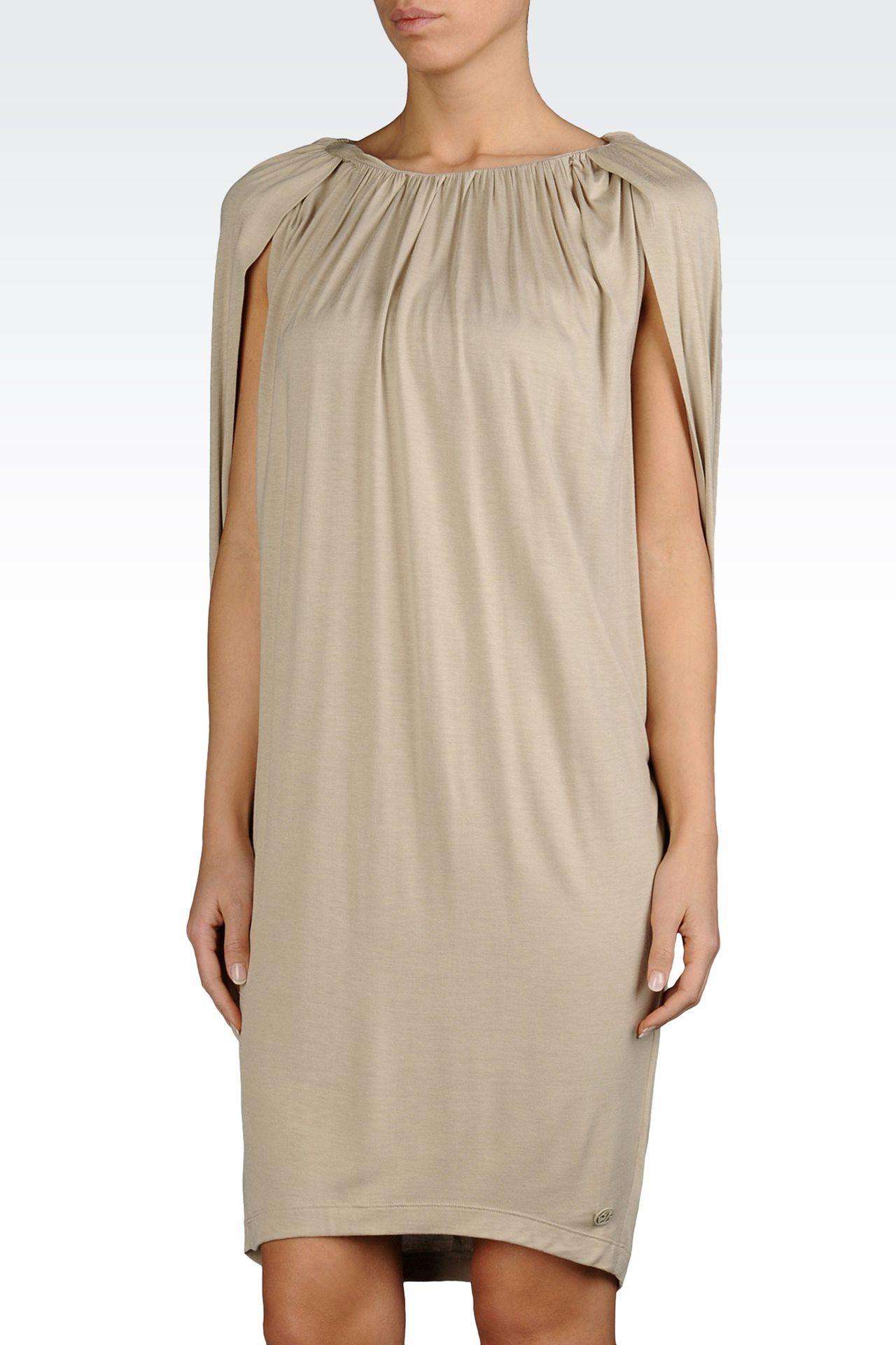 VISCOSE JERSEY DRESS WITH GATHERS: Jersey dresses Women by Armani - 0