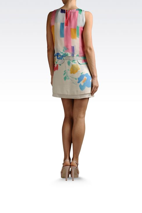dress with top in printed silk: Printed dresses Women by Armani - 3