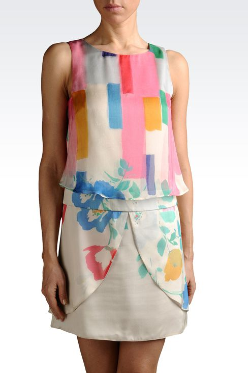 dress with top in printed silk: Printed dresses Women by Armani - 1
