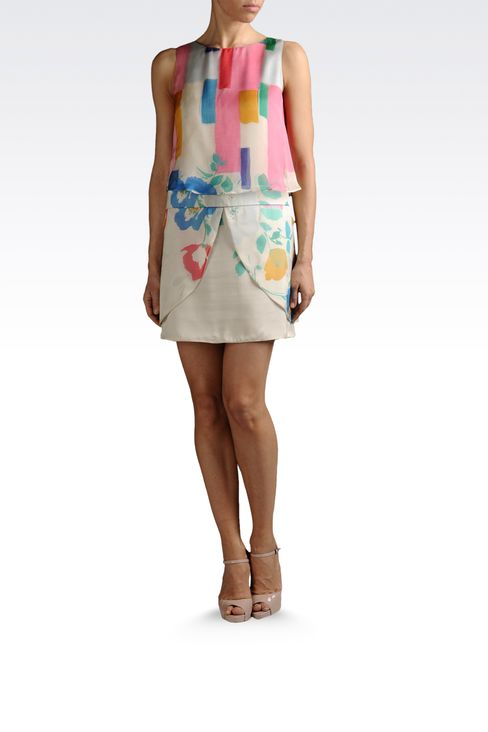 dress with top in printed silk: Printed dresses Women by Armani - 2