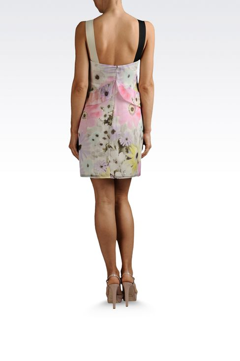 silk chiffon dress with flower print: Printed dresses Women by Armani - 3