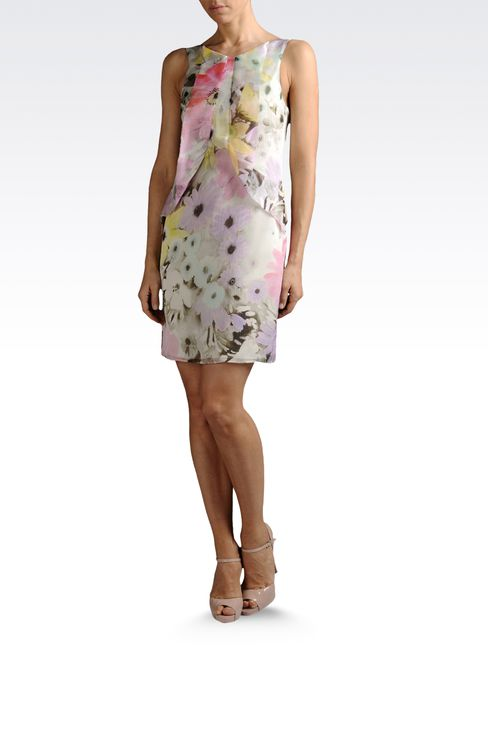 silk chiffon dress with flower print: Printed dresses Women by Armani - 2