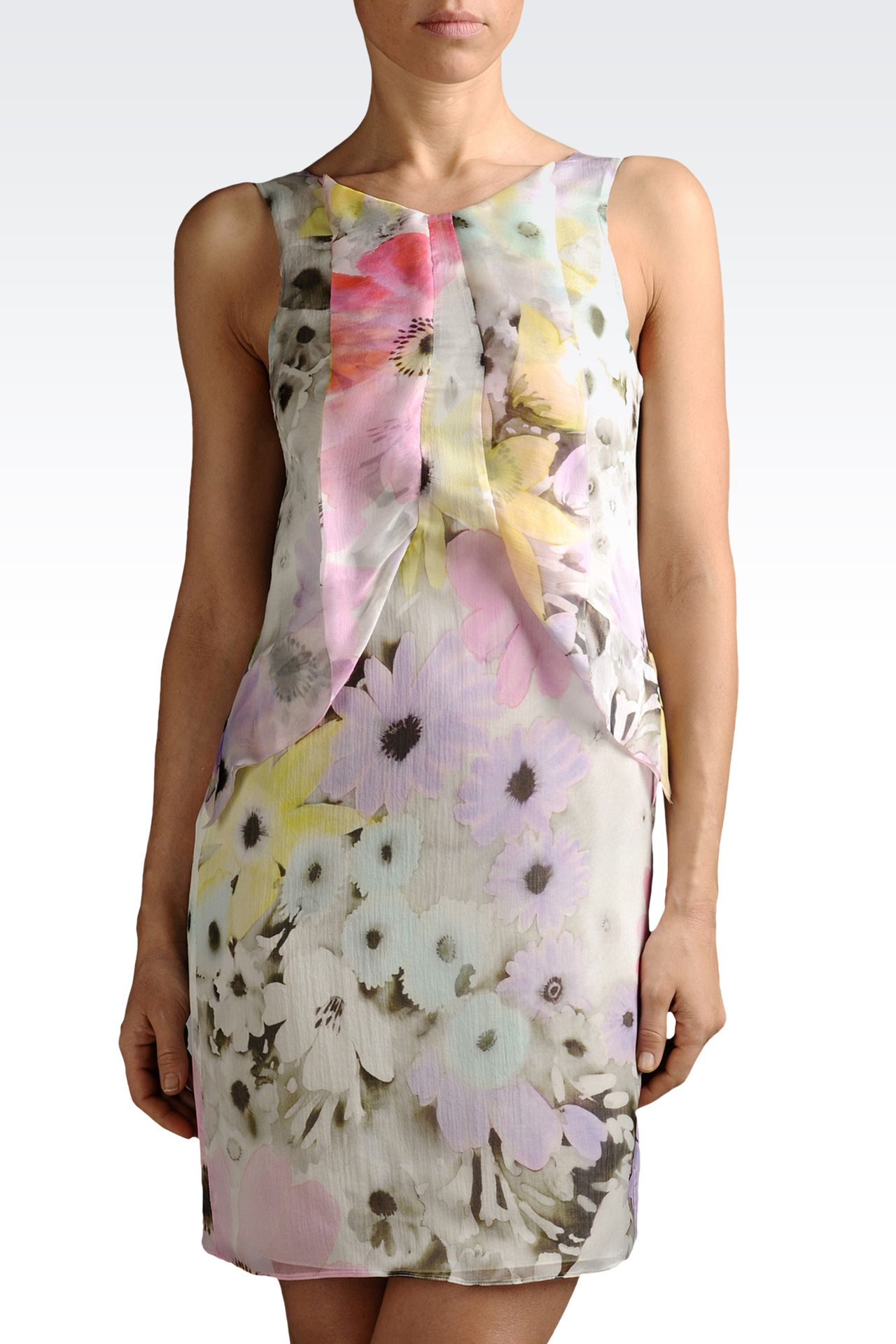 silk chiffon dress with flower print: Printed dresses Women by Armani - 0