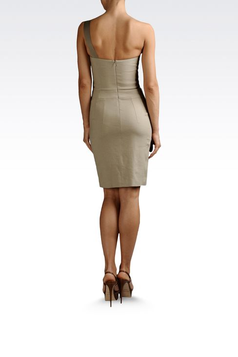 one-shoulder dress in linen and viscose: One-shoulder dresses Women by Armani - 3