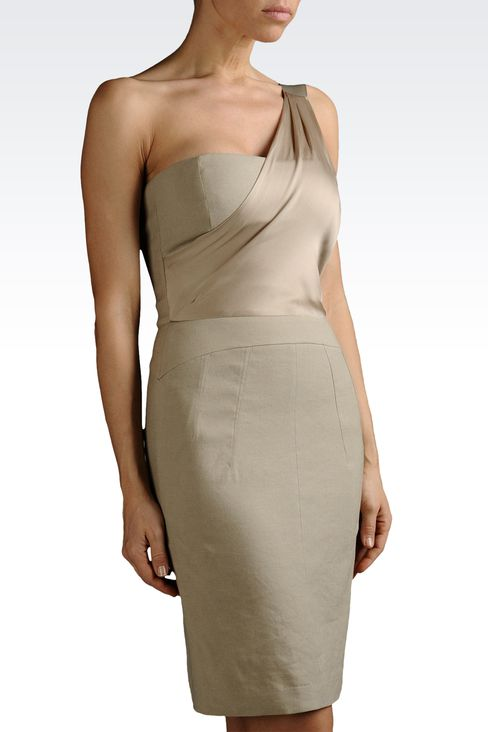 one-shoulder dress in linen and viscose: One-shoulder dresses Women by Armani - 1
