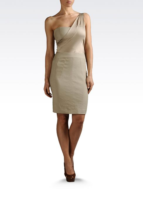 one-shoulder dress in linen and viscose: One-shoulder dresses Women by Armani - 2