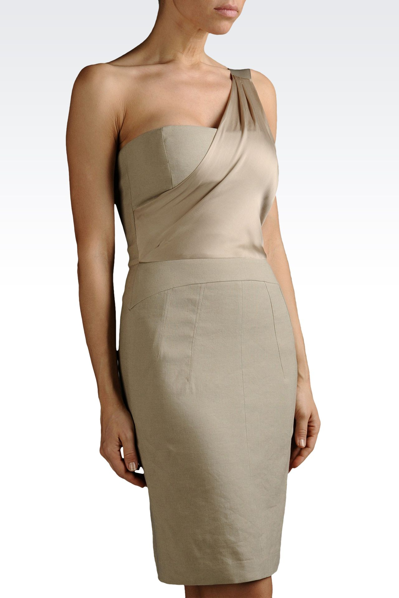 one-shoulder dress in linen and viscose: One-shoulder dresses Women by Armani - 0