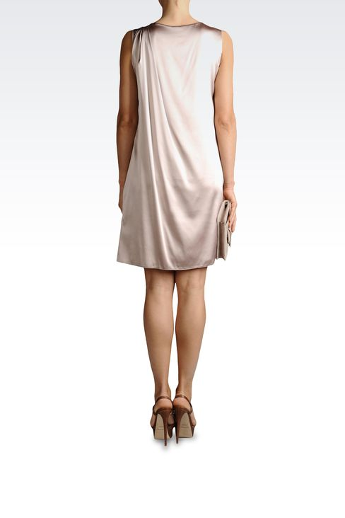 SILK DRESS WITH BOW AND DRAPING: Short Dresses Women by Armani - 3