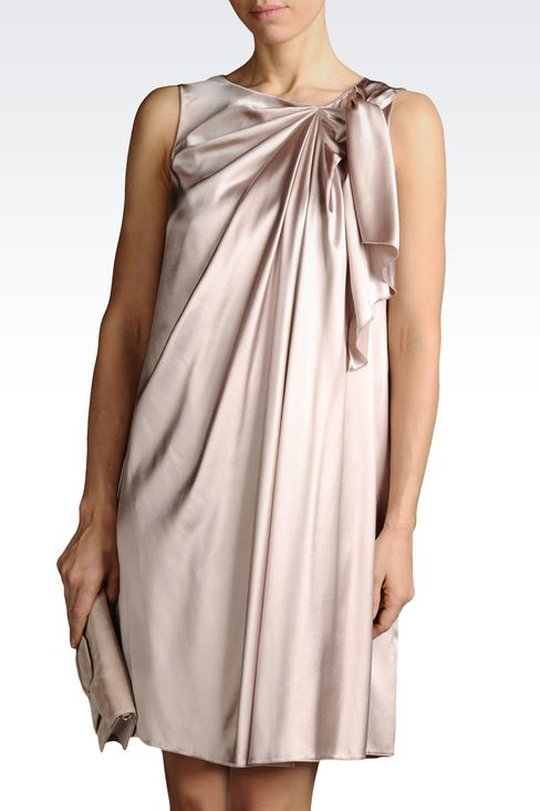 SILK DRESS WITH BOW AND DRAPING: Short Dresses Women by Armani - 1