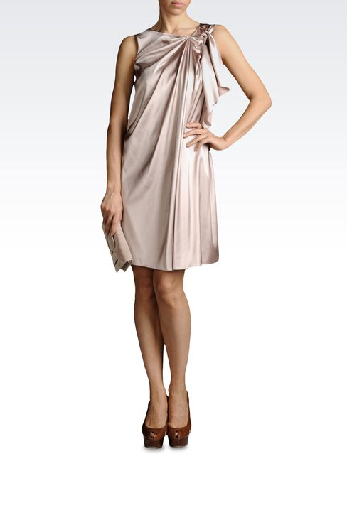 SILK DRESS WITH BOW AND DRAPING: Short Dresses Women by Armani - 2