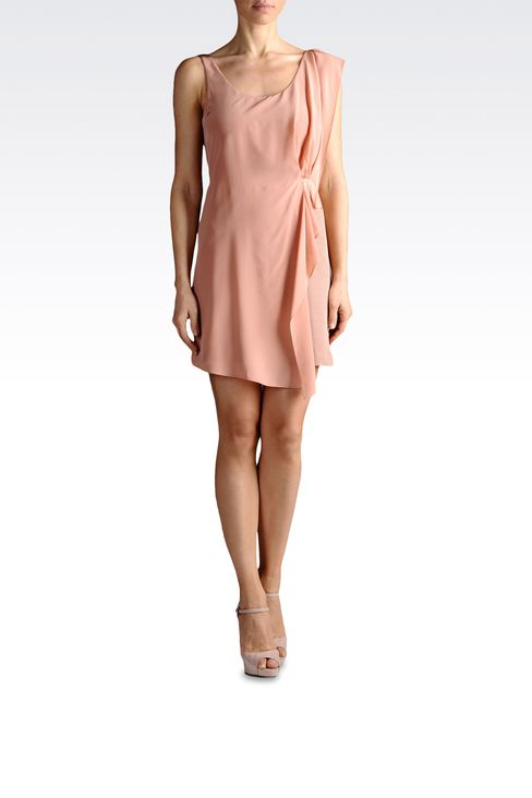 crêpe dress with draping: Short Dresses Women by Armani - 2