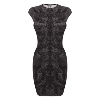 ALEXANDER MCQUEEN, Mini Dress, Dragonfly Spine Lace Cap-Sleeve Mini-Dress 