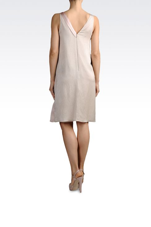 lamé effect silk dress with draping: Short Dresses Women by Armani - 3