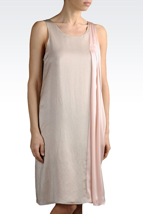lamé effect silk dress with draping: Short Dresses Women by Armani - 1