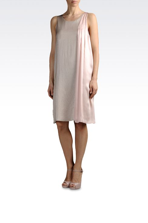 lamé effect silk dress with draping: Short Dresses Women by Armani - 2