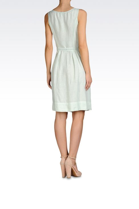 LINEN DRESS WITH DRAWSTRING WAIST: Short Dresses Women by Armani - 3