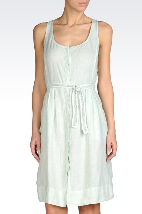 LINEN DRESS WITH DRAWSTRING WAIST: Short Dresses Women by Armani - 1