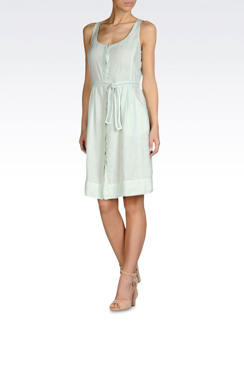 LINEN DRESS WITH DRAWSTRING WAIST: Short Dresses Women by Armani - 2