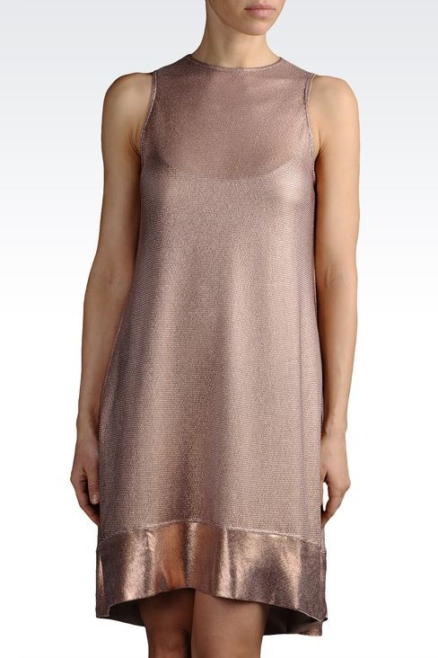 light knit dress with lamé effect: Short Dresses Women by Armani - 1