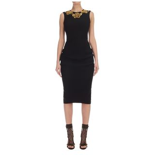 ALEXANDER MCQUEEN, Mid-length Dress, Embroidered Crepe Draped Mid-Length Pencil Dress