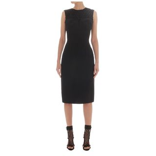 ALEXANDER MCQUEEN, Mid-length Dress, Honeycomb Macramé Lace Detail Pencil Dress