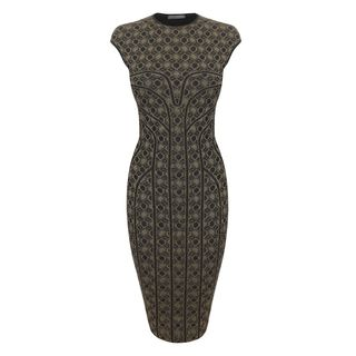 ALEXANDER MCQUEEN, Mid-length Dress, Honeycomb Lace Jacquard Pencil Dress