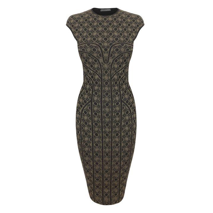 Alexander McQueen, Honeycomb Lace Jacquard Pencil Dress