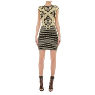 ALEXANDER MCQUEEN, Mini Dress, Honeycomb Bee 3D Puckering Lace Jacquard Mini-dress