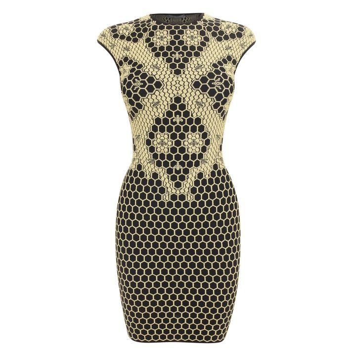 Alexander McQueen, Honeycomb Bee 3D Puckering Lace Jacquard Mini-dress