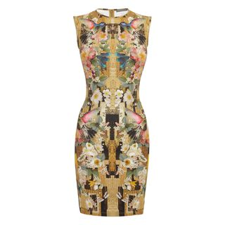 ALEXANDER MCQUEEN, Mini Dress, Geometric Hummingbird Print Jersey Mini-Dress