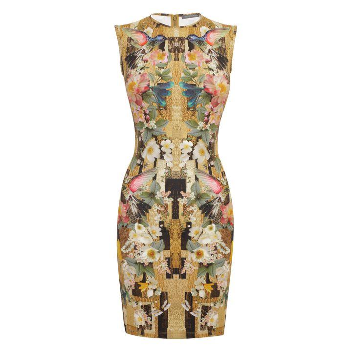 Alexander McQueen, Geometric Hummingbird Print Jersey Mini-Dress